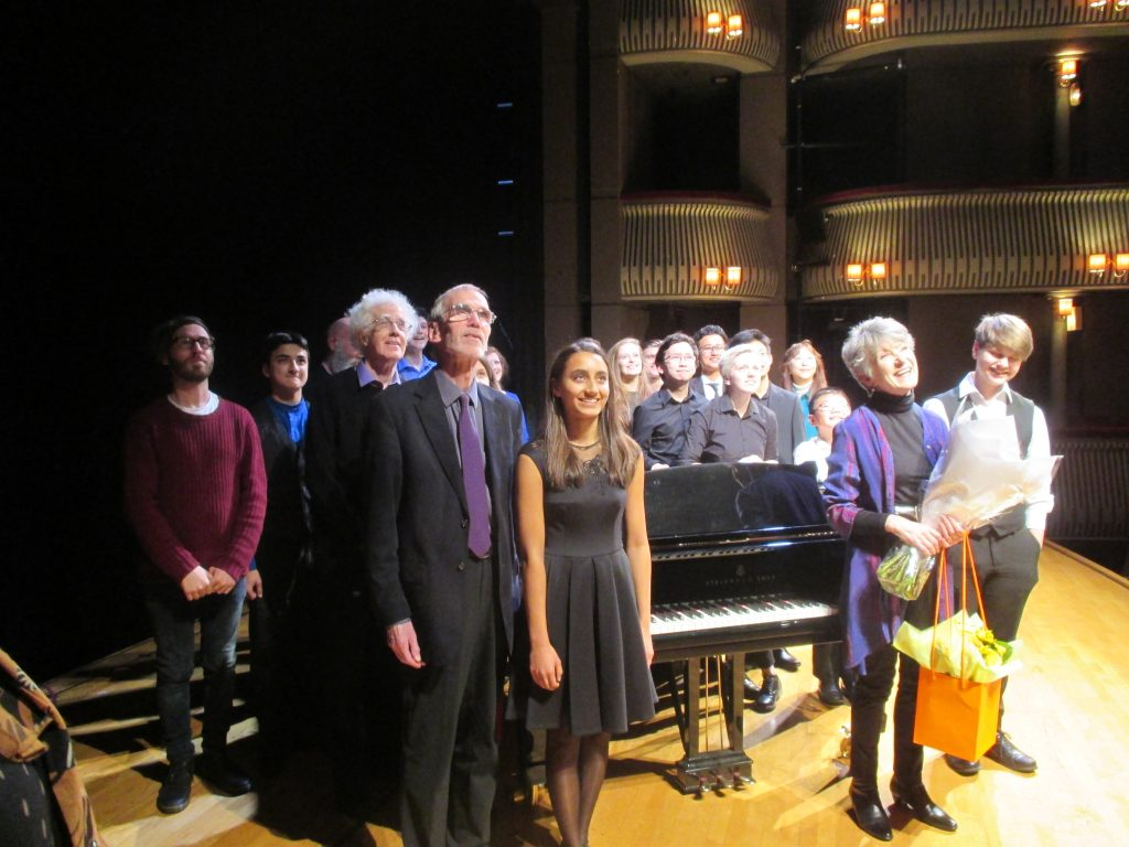 launch of Spectrum 5, Britten Theatre, Royal College of Music, London, 5 November 2016: composers and performers with Thalia Myers.